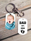NEW DAD keychain - Dad EST - custom photo dog tag