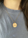 Rose Gold disc necklace - Faith over Fear - Rose Gold Plated Stainless Steel disc and necklace