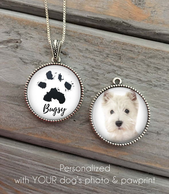 Custom paw print necklace, memorial pet necklace
