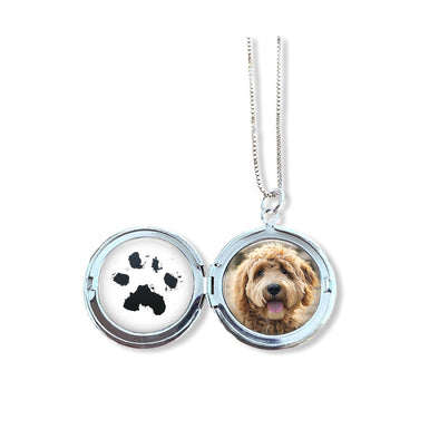Pet Memorial Pawprint and Photo Locket with optional engraving
