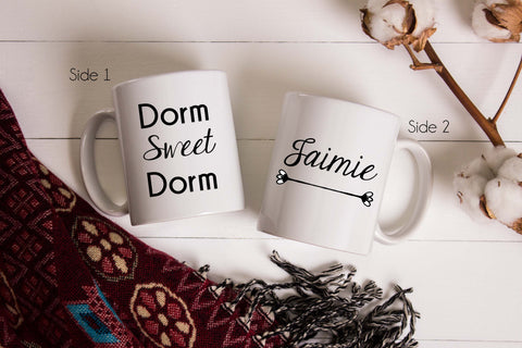 Dorm Sweet Dorm coffee mug personalized with ANY name