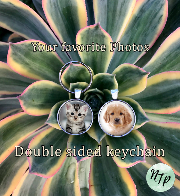 DOUBLE PHOTO KEYCHAIN - Personalized Customized Key Ring - Design Your Own keychain - Personalized keychain - 2 photos