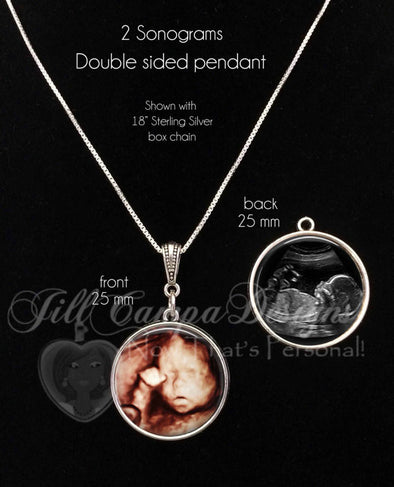 SONOGRAM NECKLACE - 2 sonograms - 2 sided baby sonogram pendant - Jill Campa Designs - Now That's Personal!