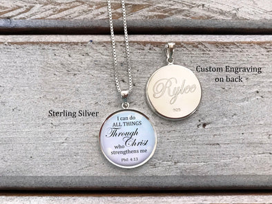 Sterling Silver I can do all things through Christ who strengthens me - with optional engraving on back