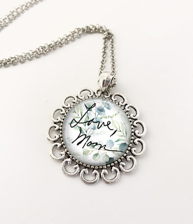 Custom Handwriting necklace - succulent background - floral setting
