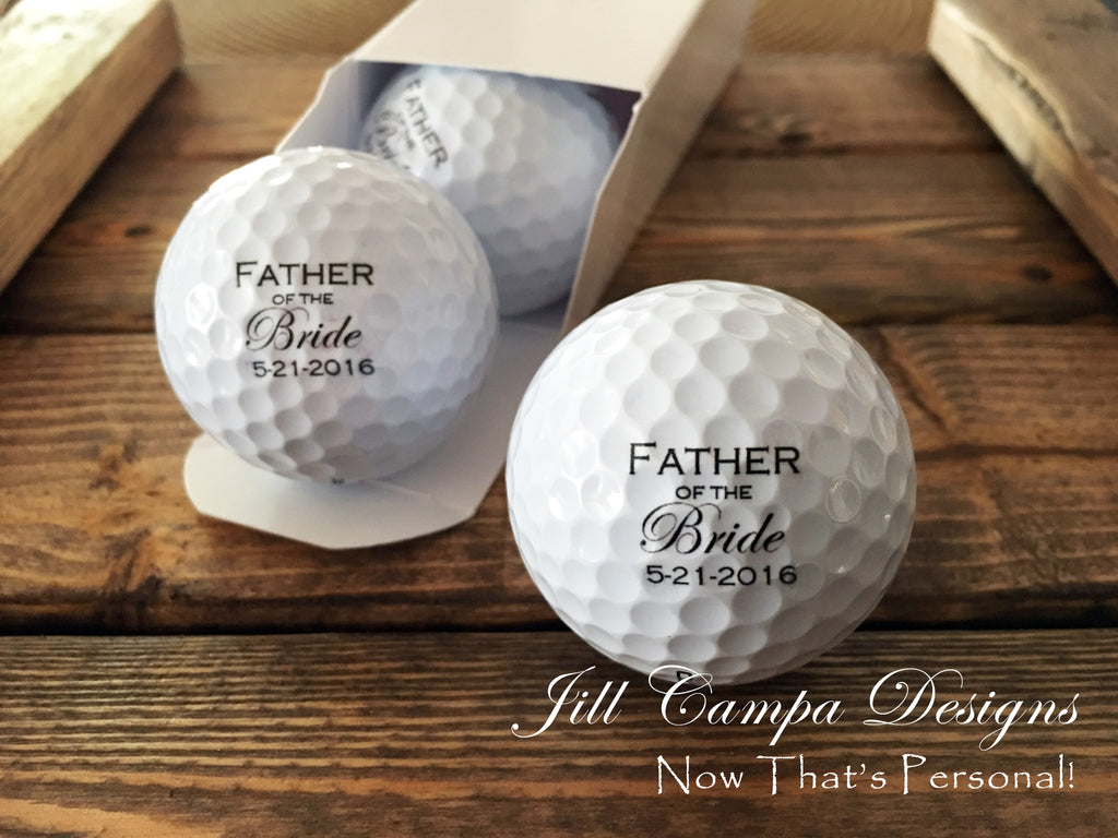 64e4060a334 Father of the Bride Golf balls - set of 3 customized with Wedding date -  Jill