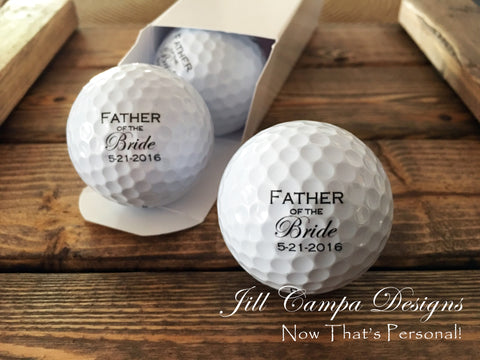 Father of the Bride Golf balls - set of 3 customized with Wedding date