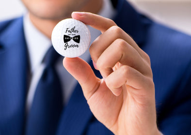 Personalized Father of the Groom Golf Ball Gift Set with Bow Tie