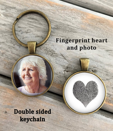 Heart Shaped Fingerprint and Photo Key chain