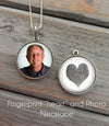Heart shaped Fingerprint and Photo Necklace