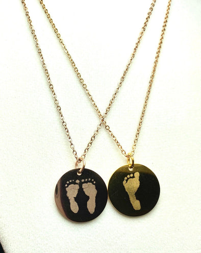 Footprint Necklace with Your Child's Actual Foot Print - engraved gold disc necklace - Gold Plated Stainless Steel