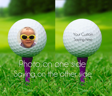 Custom Photo Golf balls - Double Sided - set of 3 with YOUR photo - Father's Day Gift