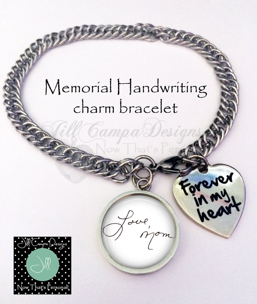 Handwriting charm bracelet- Forever in my heart - Jill Campa Designs - Now That's Personal!