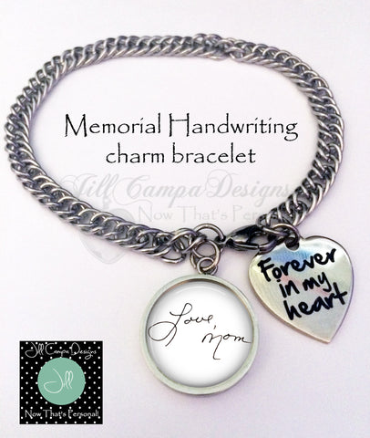 Handwriting charm bracelet- Forever in my heart