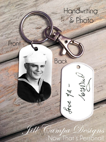 Handwriting and Custom Photo Dog Tag Key Chain