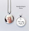 Photo and handwriting necklace, photo and handwriting - double sided