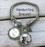 Photo Bracelet, 2 photo Charm Bracelet, handwriting bracelet