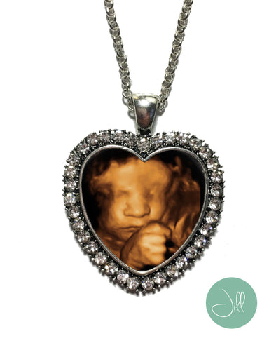 Heart Shaped Baby SONOGRAM pendant, BLING Ultrasound necklace - Pregnancy Gift , Baby Shower Gift - Jill Campa Designs - Now That's Personal!