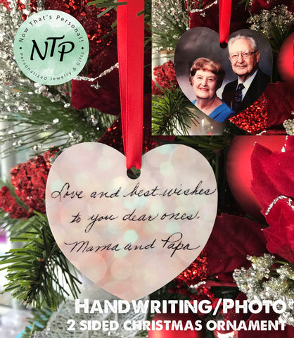 Photo and Handwriting Christmas Ornament
