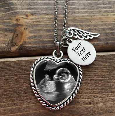Baby Memorial Necklace - Heart Shaped Necklace, name charm, angel wing
