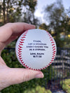 "ACTUAL BASEBALL,""I hit a homerun when I gained you as a stepson"""