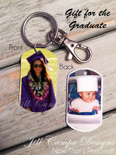 Graduation gift  custom photo dog tag key chain