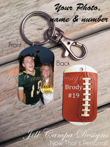 Football Mom Photo Dog Tag Key Chain
