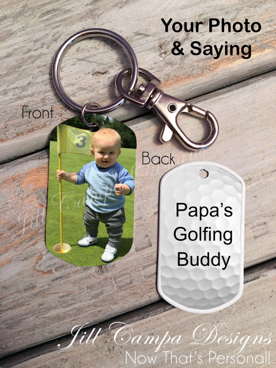 Gift for Golfer-Custom Photo Dog Tag Key Chain