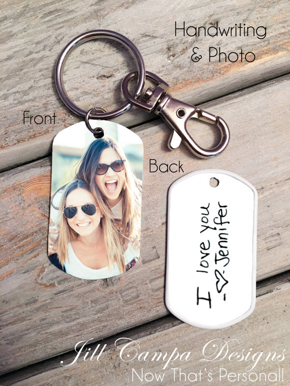 Handwriting and Photo Dog Tag Key Chain