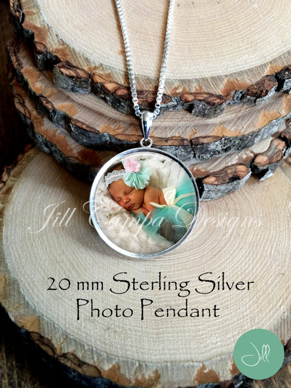 Sterling Silver 20 mm Photo Pendant with Chain