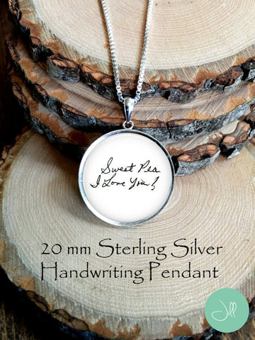 Sterling Silver 20 mm Handwriting Pendant with Chain
