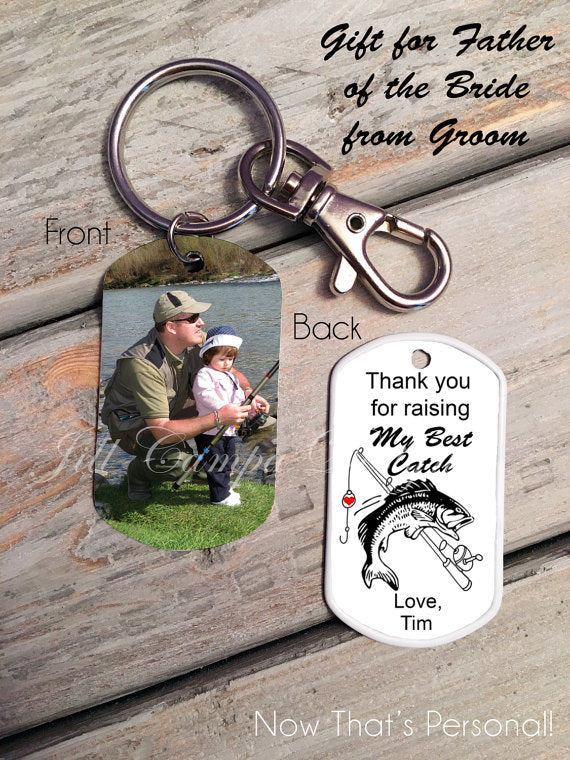 Groom's Gift to Parents of the Bride-Fishing Theme, Custom Photo, Dog Tag, Key Chain