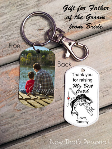 Bride's Gift to Parents of the Groom-Fishing Theme, Custom Photo, Dog Tag, Key Chain