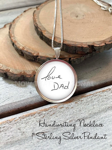 "Sterling Silver 1"" Handwriting Pendant with Chain"