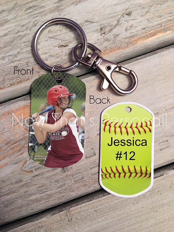Softball Theme-Custom Photo Dog Tag-Key Chain