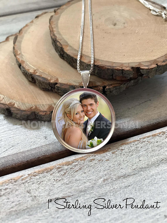 "Sterling Silver 1"" Photo Pendant with Chain"