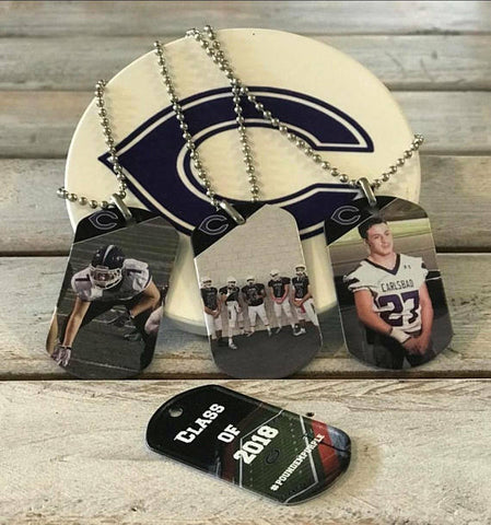 Personalized Sports Photo Dog Tag Necklace-Key Chain