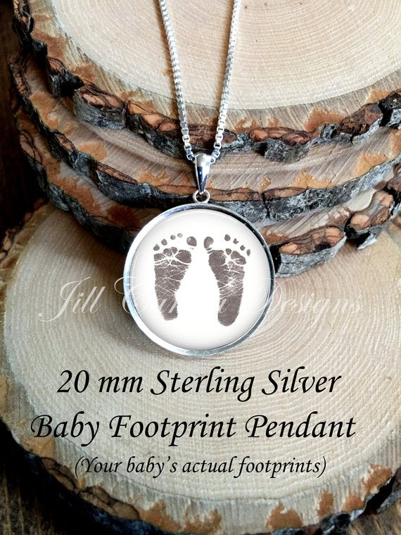 BABY Footprint  Necklace, Petite, Your baby's actual footprints