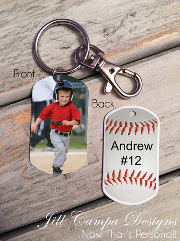 Baseball Theme-Custom Photo Dog Tag-Key Chain