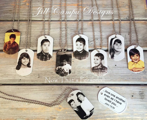 Personalized Double Sided Photo and Text Dog Tag Necklace/Keychain