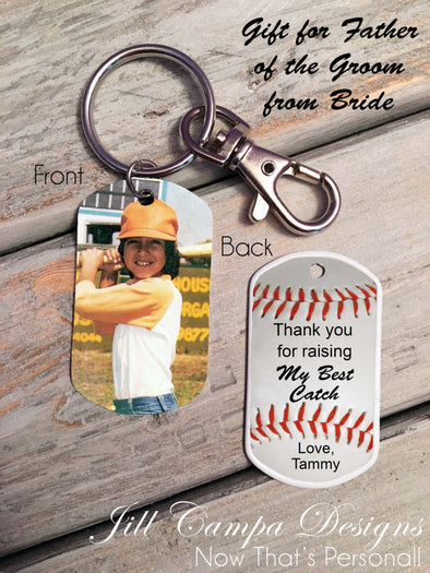 Father of the Groom Gift from Bride-Baseball Theme Photo Dog Tag Key Chain