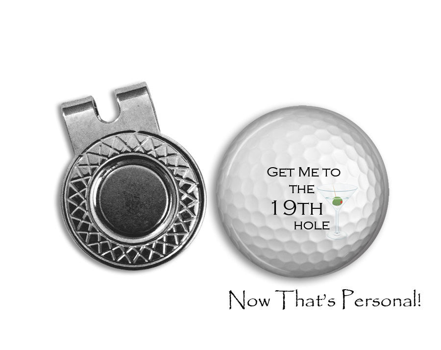 Magnetic Golf Ball Marker and hat clip set - golf ball marker - 19th hole - Gift for golfer - gift for Dad - Jill Campa Designs - Now That's Personal!