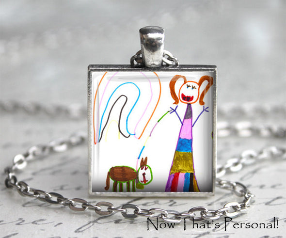 Your Child's Artwork Necklace - Children's Artwork Pendant Necklace  - Your Child's Art - Children's art - Father's Day gift - key chain - Jill Campa Designs - Now That's Personal!  - 3