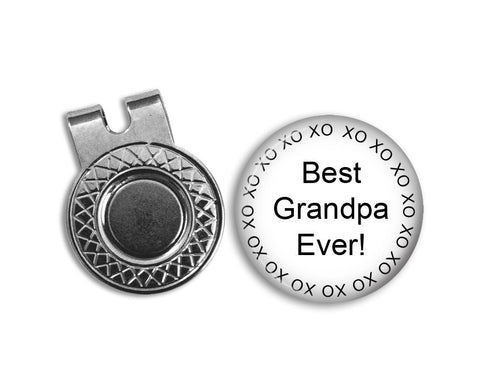 Magnetic Golf Ball Marker and hat clip set - BEST GRANDPA EVER - golf ball marker - Gift for golfer - gift for Grandpa - Father's Day gift