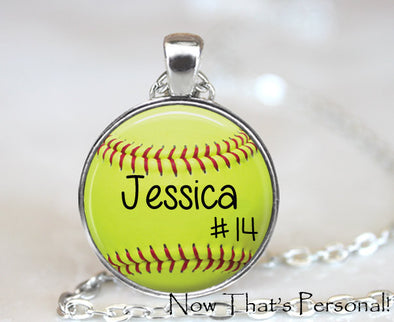 LARGE CUSTOM SOFTBALL PENDANT - softball pendant - Your child's name and number - softball - softball mom - softball necklace - 30 mm - Jill Campa Designs - Now That's Personal!  - 1
