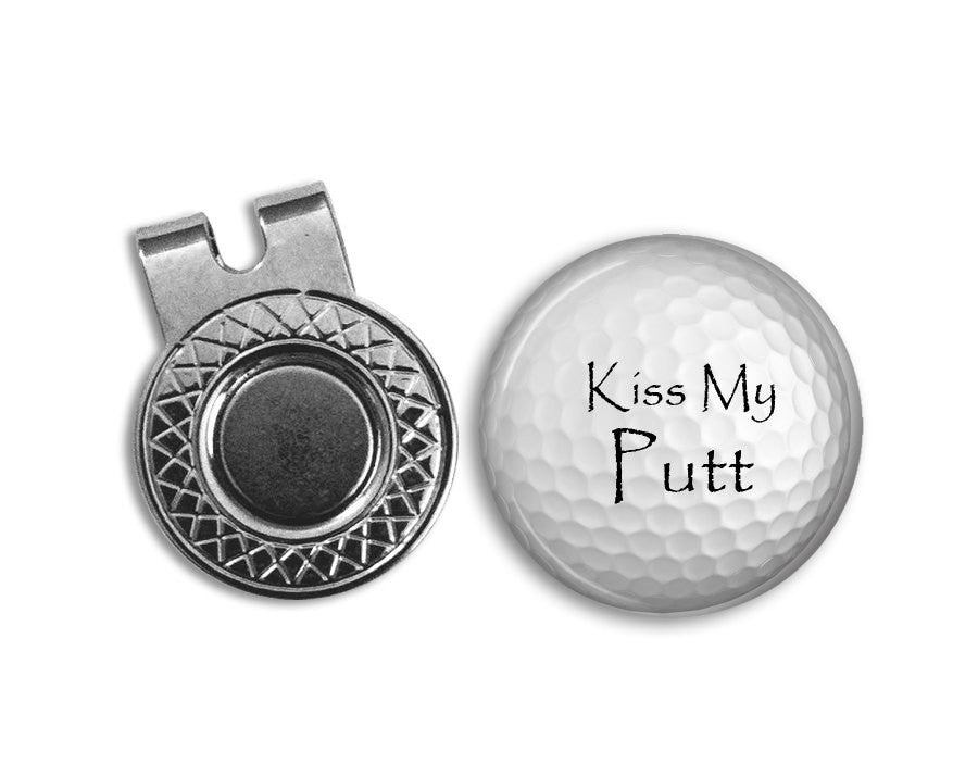 Magnetic Golf Ball Marker and hat clip set - Kiss My Putt  - GOLF BALL MARKER - Gift for golfer - gift for Dad - Father's Day gift - golf - Jill Campa Designs - Now That's Personal!