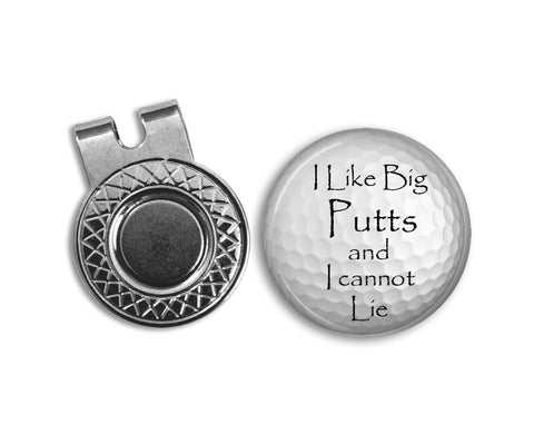 Magnetic Golf Ball Marker and hat clip set - I Like Big Putts - GOLF BALL MARKER - Gift for golfer - gift for Dad - Father's Day gift - golf