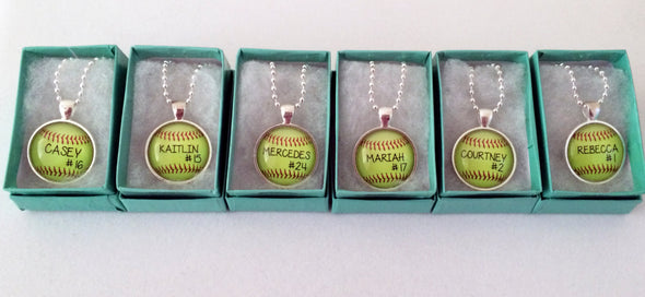 LARGE CUSTOM SOFTBALL PENDANT - softball pendant - Your child's name and number - softball - softball mom - softball necklace - 30 mm - Jill Campa Designs - Now That's Personal!  - 3