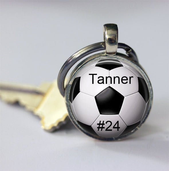 CUSTOM SOCCER PENDANT - custom soccer necklace - Your child's name and number - soccer key chain - soccer mom - soccer  necklace - Futball - Jill Campa Designs - Now That's Personal!  - 2