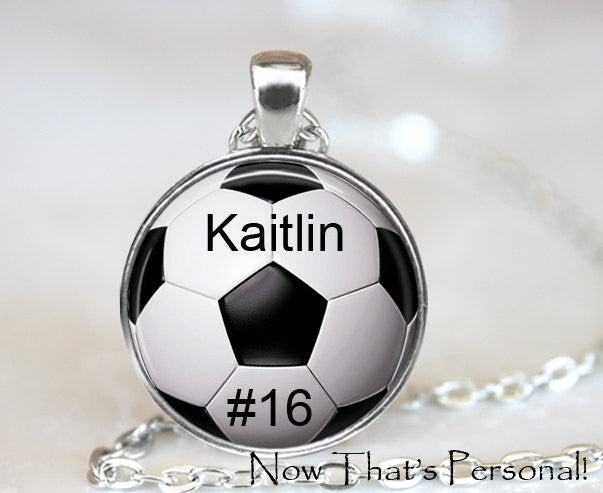 CUSTOM SOCCER PENDANT - custom soccer necklace - Your child's name and number - soccer key chain - soccer mom - soccer  necklace - Futball - Jill Campa Designs - Now That's Personal!  - 1
